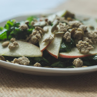 Kale & Apple Salad With Toasted Pepitas, Homemade Sunflower Seed Cheese, And Honey Sage Vinaigrette