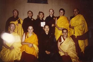 Photo: Founding members of Sakyadhita International who read the Bhiksuni Pratimoksa on the full moon night on Thursday, January 15, 1987: Back row, left: Bhikshuni Karuna Dharma, Bhikshuni Yi Hang, Bhikkhuni Jenhua Shih, Bhikkhuni Miaokwang Sudharma, Bhikshuni Pema Chodron, and Bhikshuni Yi Hang. Front row, left: Bhikshuni Karma Lekshe Tsomo, Bhikshuni Jampa Tsedroen, Bhikkhuni Yung Kai Shih, and Bhikshuni Thubten Chodron.