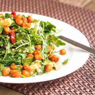 Vegan Arugula Quinoa Avocado Salad with Chickpea Croutons {Gluten-Free}