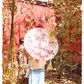 Chinese umbrella by Mylene Rizzo - Illustration Flowers & Nature ( forbidencity, china, umbrella, beijing, girl )