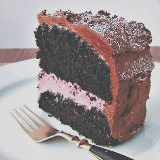 Chocolate Mocha Cake with Raspberry Cream Filling.
