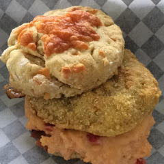 Pimento Cheese, Bacon and Fried Green Tomatoes on a Cheddar Biscuit