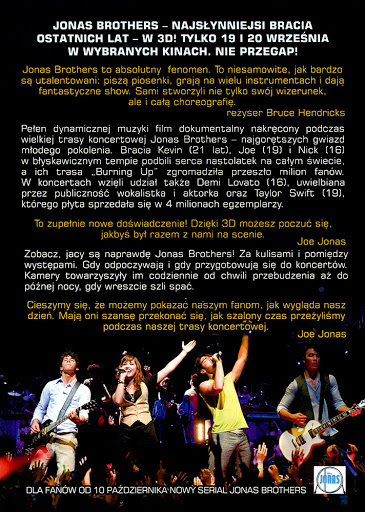 Tył ulotki filmu 'Jonas Brothers - Koncert'