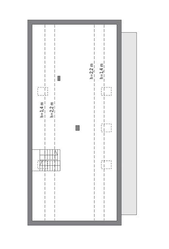 Nowatorski (z wentylacją mechaniczną i rekuperacją) - EC383 - Rzut poddasza do indywidualnej adaptacji (97,7 m2 powierzchni użytkowej)