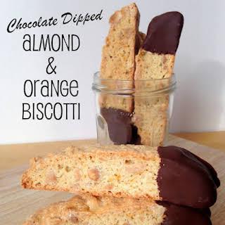 Chocolate Dipped Almond & Orange Biscotti.