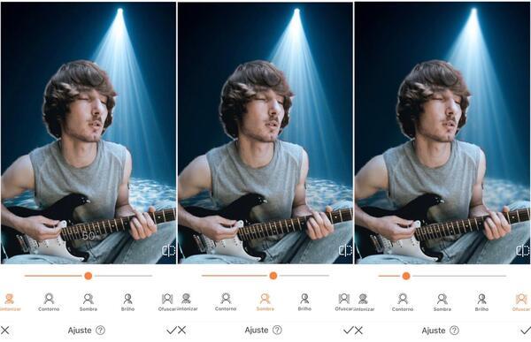 Foto de um homem tocando guitarra, agora em um fundo com luz azul sendo editada pelo AirBrush com a ferramenta Fundo