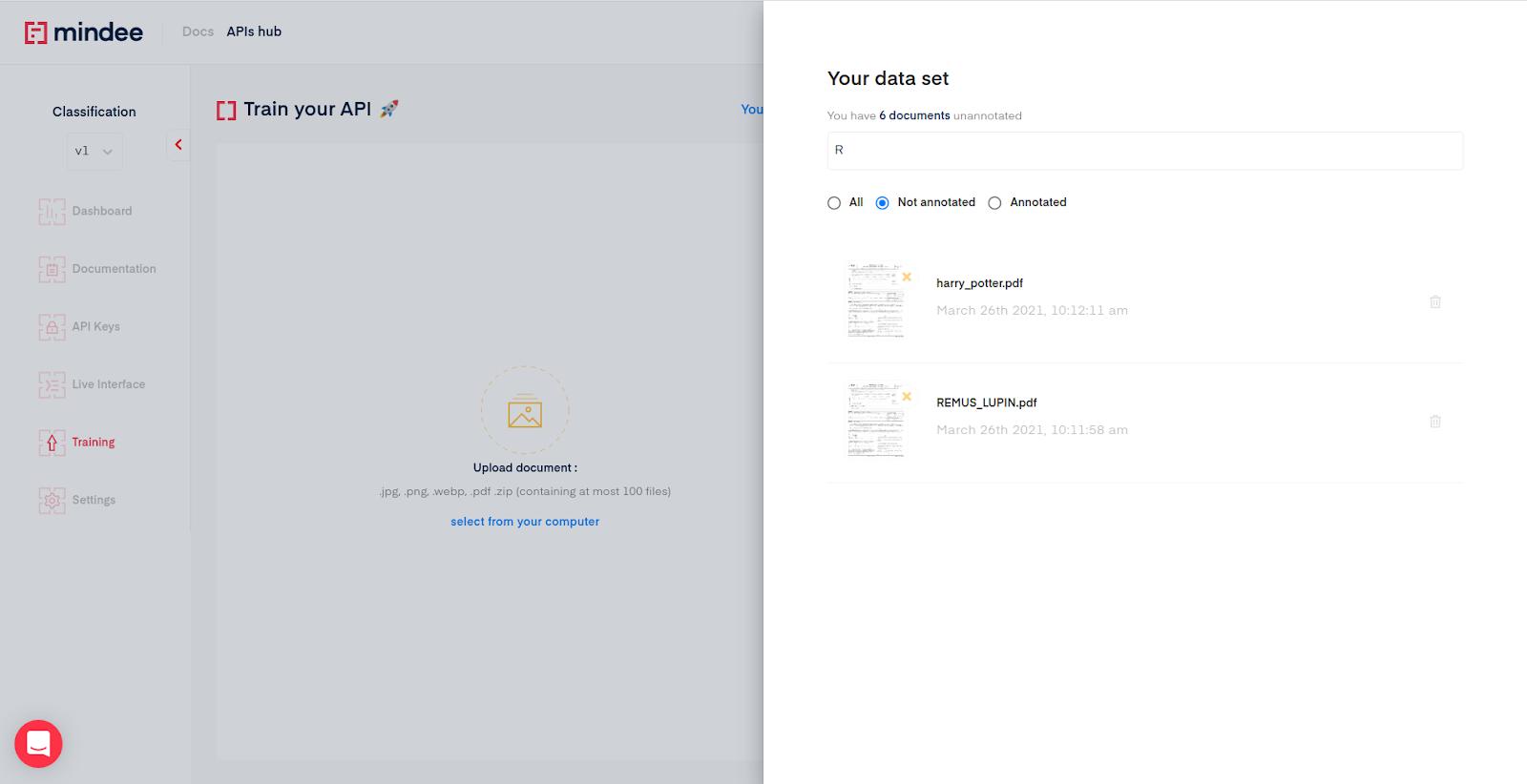 Document classifier data management pane
