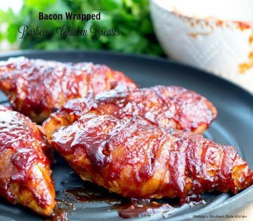 "Bacon Wrapped Barbecue Chicken Breasts ""Easy 4-ingredient entrees like these bacon wrapped..."