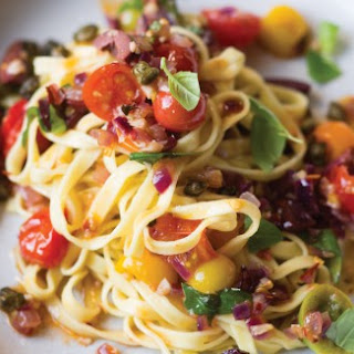 Puttanesca Sauce with Fried Capers Over Linguine Recipe