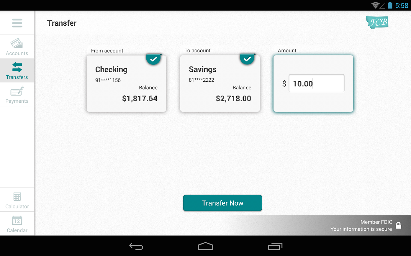 First Community Bank MT Tablet- screenshot