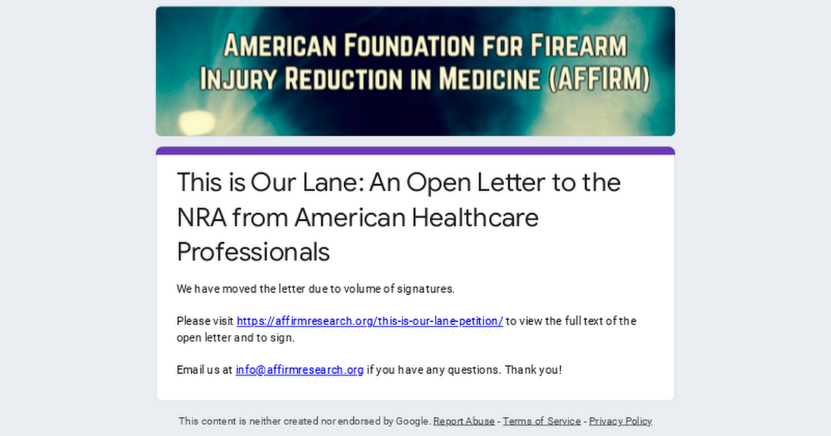 This is Our Lane: An Open Letter to the NRA from American