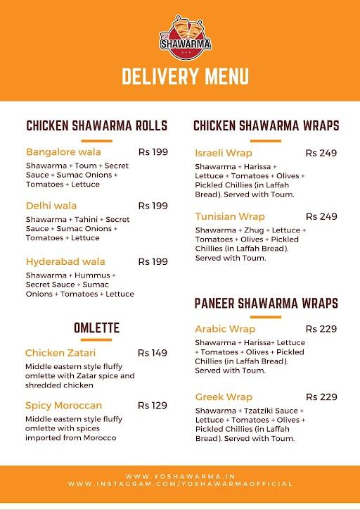 Yo Shawarma menu 1