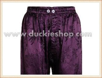 กางเกงใส่นอน ชุดนอนผู้ชายขายาวผ้าแพรจีนแท้เอวยางคนอ้วน ขนาดใหญ่พิเศษ XXL สีม่วงเปลือกมังคุด