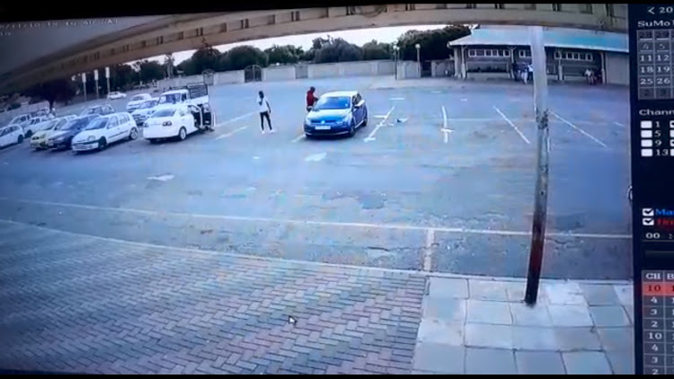 A screenshot of CCTV footage recorded of the incident where a man was shot and killed inside of his car at a shopping centre in Welkom.