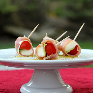 Prosciutto-Wrapped Cherry Tomatoes, Mozzarella, and Basil Bites Recipe
