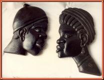 cabezas africanos. Talla en madera
