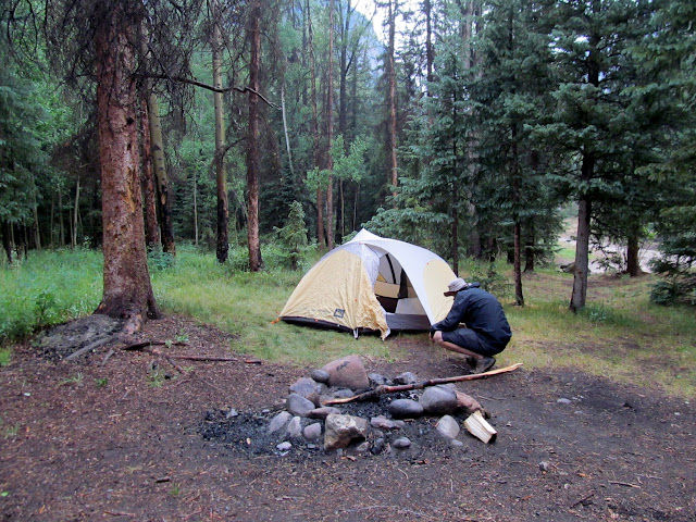 Setting up camp along Cottonwood Creek