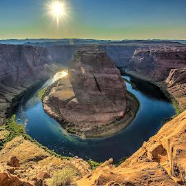 Horseshoe Bend by Leon Efimov - Landscapes Caves & Formations ( mountains, page, sunset, arizona, colorado, bend, travel, horseshoe bend, grand canyon, river, horseshoe )
