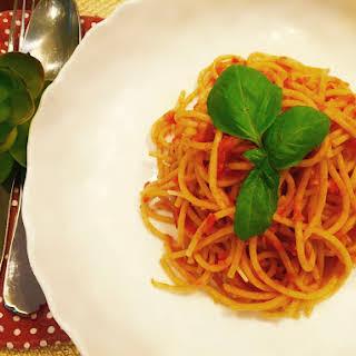 Spicy Harissa Tomato Carrot Pasta Sauce.