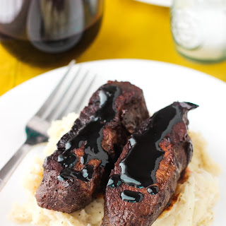 Balsamic Red Wine Flat Iron Steak.