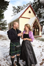 Photo: Colin and Julie Bell pictured at the Burkes pass church after getting married on Friday