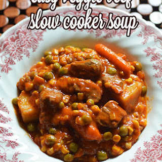 Easy Veggie Beef Slow Cooker Soup.