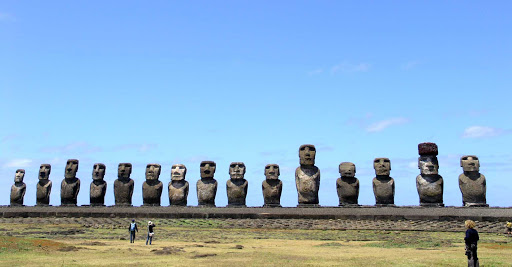A lineup of the famed moai of Easter Island.
