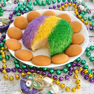 King Cake Cheese Ball for Mardi Gras.