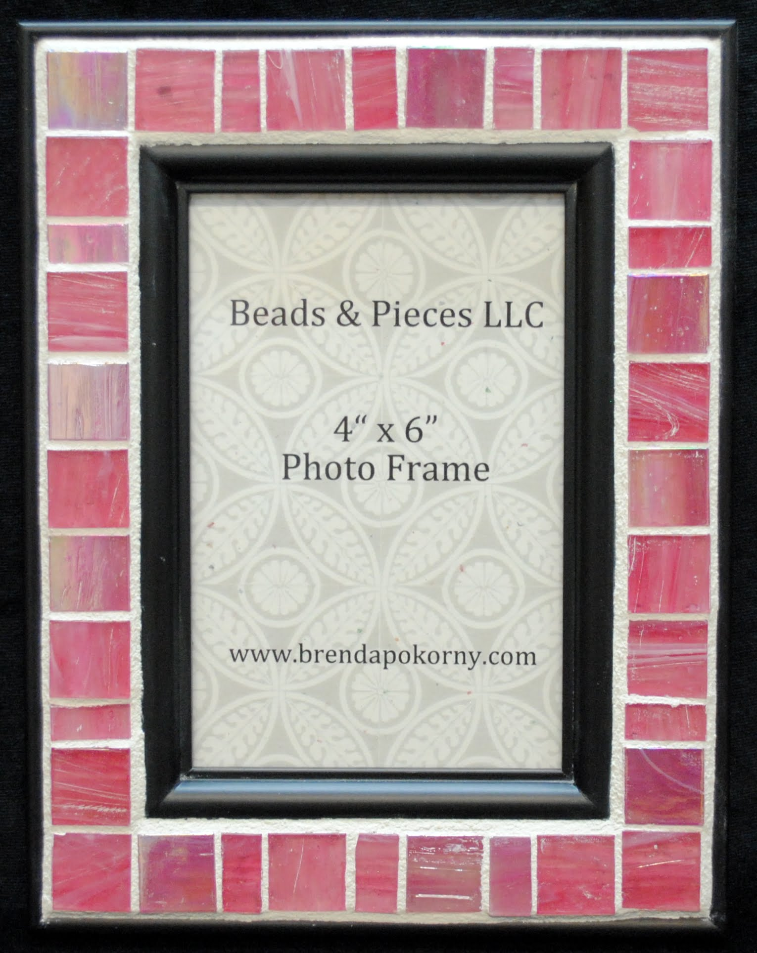 "Bright Pretty Pink 4"" x 6"" Mosaic Photo Frame MOF1247"