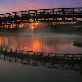 by Dana Johnson - Buildings & Architecture Bridges & Suspended Structures ( sunrise, reflection, waterscape, bridge, architecture )