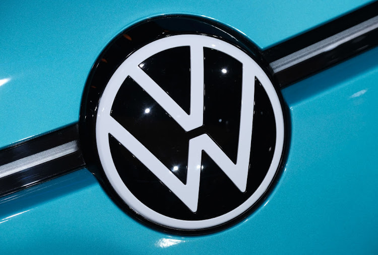 The new VW logo is seen on the hood of the Volkswagen ID.3 electric car at the 2019 IAA Frankfurt Auto Show.