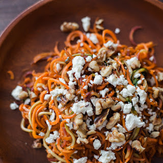 Roasted Spiralized Carrot, Feta and Toasted Walnut Salad