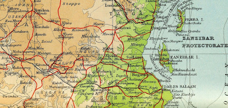 Photo: Union Castle map circa 1952, shows the rail line from Dar es Salaam to Kongwa and area