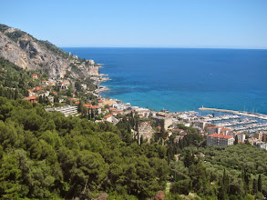 Photo: Menton is the last town on the French Riviera. That rocky point is Italy.