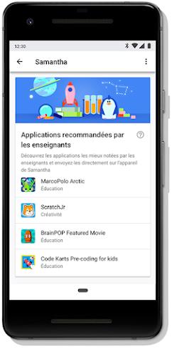 Écran de mobile avec applications recommandées par les enseignants
