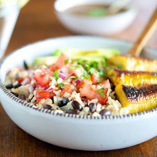 Gallo Pinto (Beans and Rice) with Sautéed Plantains, Tamarind Sauce and Tomato Salsa