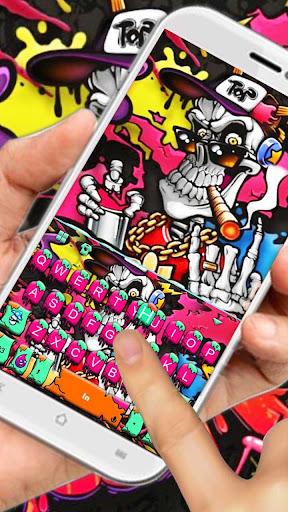 Graffiti Smoke Skull Keyboard Theme 1.0 screenshots 2