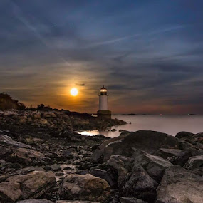 Harvest moon by Kathy Val - Landscapes Waterscapes ( moon, lighthouse, long exposure, ocean, seascape, landscape,  )