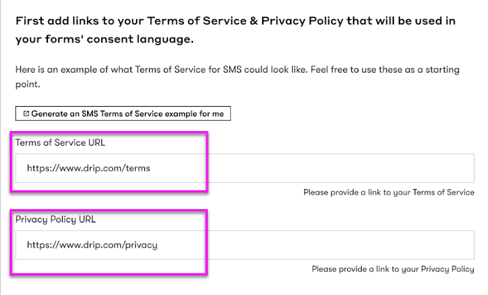 Enter your terms of service and privacy policy URLs.