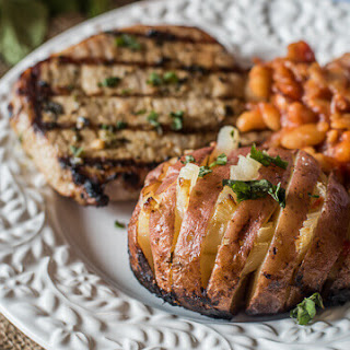 Grilled Baked Potatoes with Onions