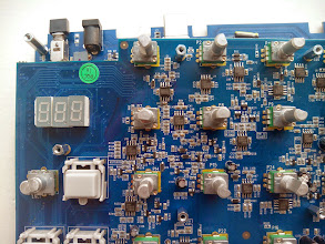 Photo: R60 (330R) change to 220R (or solder a 1k resistor between left lug P7 and ground) to increase max tune BD to about 72Hz  R52 (none) solder a 1k (or solder a 1k resistor between middle and right lug P7) to increase lowest tune to 44Hz  R114 (499R) affects the pitch of the initial attack, decreasing R113 makes the attack of the BD more sharp  R167 & C89: LP filter  R84 & C40 & C41 (TwinT) AND R116 & C65 & C66 (Twin T) around U10 control frequency Snare Tune