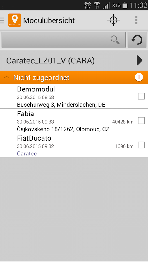 Caratec Locate- screenshot