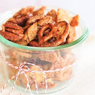 Cinnamon-Sugar Candied Chex Mix with Pecans and Pretzels.