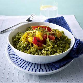 Green Tea Orzo with Roasted Peppers.