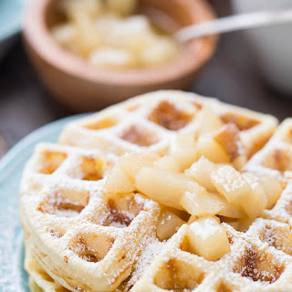 Browned Butter Homemade Waffles with Spiced Pear Topping.