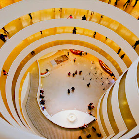 Guggenheim New York by Lee McLaughlin - Buildings & Architecture Other Interior ( interior, frank lloyd wright, guggenheim, spiral, new york, museum, people, golden )