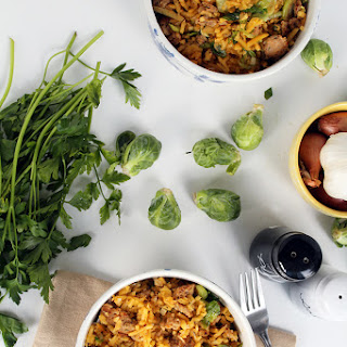 Sausage and Brussel Sprout Rutabaga Rice.