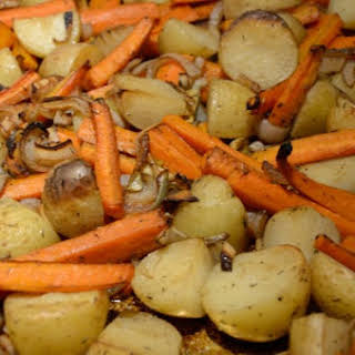 Balsamic Roasted Baby Potatoes and Carrots.