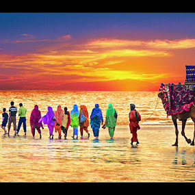 Procession by Sami Ur Rahman - People Street & Candids ( camel, sunset, family, colored dresses, beach )