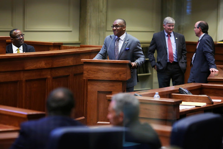Senator Bobby Singleton (D) speaks during a state Senate vote on the strictest anti-abortion bill in the United States at the Alabama Legislature in Montgomery, Alabama, U.S. May 14, 2019.